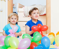 Children  with  balloons Stock Images