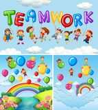 Children and balloons for word teamwork. Illustration Royalty Free Stock Images
