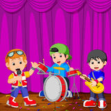 Children in band playing on stage. Illustration of Children in band playing on stage royalty free illustration