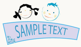 Children with banner. Smiling kids faces  with banner for sample text Stock Photos