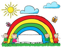 Children with banner. Smiling kids holding hands with white banner  on rainbow background Stock Photo