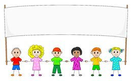 Children with banner. Illustration of children in a row with banner stock illustration