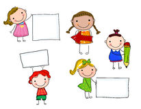 Children and banner Royalty Free Stock Photos