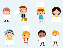 Children with banner Royalty Free Stock Image