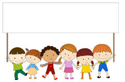 Children with banner vector illustration