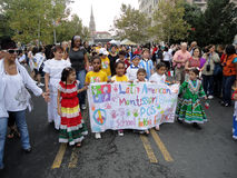 Children With Banner at the Parade royalty free stock photography