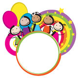 Children with banner. Children with a round frame Royalty Free Stock Photo