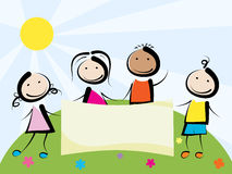 Children with banner. Smiling kids holding hands with  banner Royalty Free Stock Photo
