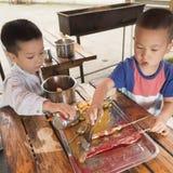 Children barbecue Stock Image