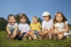 Children barefoot Stock Photo