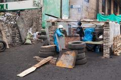 Children at the barricades of Euromaidan, Kiev Royalty Free Stock Photo