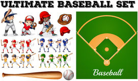 Children in baseball team and field Stock Images