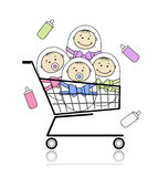 Children in basket Royalty Free Stock Photography