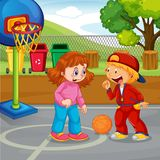 Children basketball at the park. Illustration royalty free illustration
