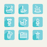 Children. Bathing. Set of icons. A Stock Photography