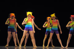 Children in bathing suits  dancing on stage Stock Image