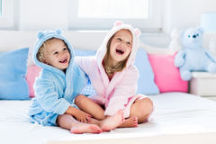 Children in bathrobe or towel after bath Royalty Free Stock Photos