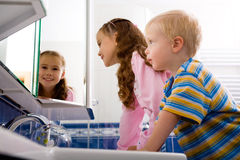 Children in the bathroom Royalty Free Stock Images