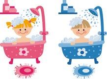 Children in the bathroom Stock Photos