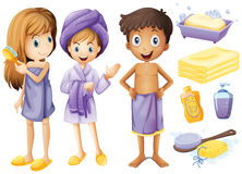 Children and bathroom objects Royalty Free Stock Images