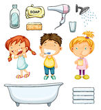 Children and bathroom set Stock Photos