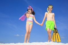 Children on Beach Stock Image