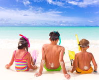 Children on beach Royalty Free Stock Photos