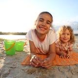 Children on beach. Happy children having fun on beach stock photography
