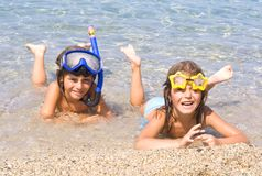 Children on the beach. Sea Stock Photos