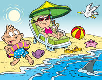 Children on the beach. The illustration shows the children in the summer vacationers on the beach Royalty Free Stock Image