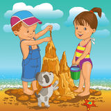 Children on the beach. Children build sand castle on the beach stock illustration