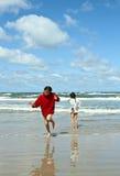 Children at the beach in Denmark Stock Photo