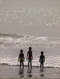 Children on beach in The Gambia Stock Image