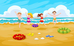 Children at the Beach, illustration Royalty Free Stock Images