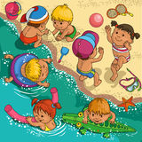 Children on the beach. Children playing on the beach royalty free illustration