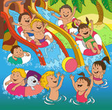 Children on the beach. Children playing on the beach. Cartoon children play on the water slides stock illustration