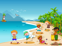 Children and beach Stock Photo