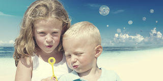Children Beach Summer Playful Playing Happiness Concept Stock Photography