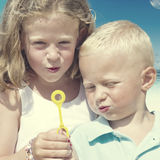 Children Beach Summer Playful Playing Happiness Concept Stock Image