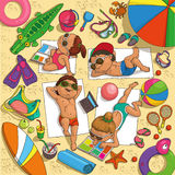 Children on the beach. Children sunbathing on the beach surrounded by toys for water vector illustration