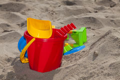 Children Beach Toys in the Sand Stock Photography