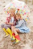 Children on beach vacation stock photo