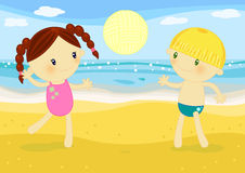 Children beachvolley match. Illustration about 2 cute little kids playing volleyball on the beach at seaside Stock Image