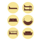 Children bed, soft sofa, double bedstead , two-story doss, summer hammock Stock Photography