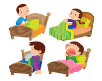 Children and bed. Vector of Children and bed on everyday life set royalty free illustration