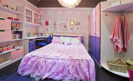 Children bedroom 07. This is the little girl's bedroom, the pink environment is very warm Stock Photo