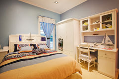 Children bedroom 18. This is the boys bedroom, the blue environment is very warm Stock Images