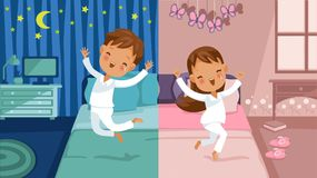 Children bedroom. Boy is going to bed, he jumps on the bed, girl is awake, she jumps on the bed. Two different cartoon images, daily routine concept. Vector Stock Images