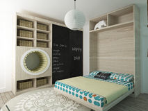 Children bedroom. A 3d rendering of a child's bedroom Royalty Free Stock Images