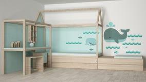 Children bedroom design. 3d illustration Royalty Free Stock Photos